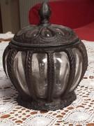 Antik jellegű nagyméretű különleges üveg bonbonier