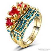 Gyönyörű Gold filled 2 db-os eljegyzési gyűrű sz. rubint kő