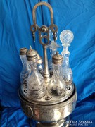 Viktorianus hatalmas fuszertaro vagott kristaly uvegekkel !