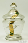 Cseh szecessziós üveg bonbonier festett virágokkal