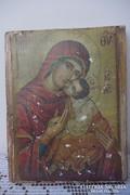 Mária kis Jézussal fatáblára transzferált ikon kép 18x14x2cm