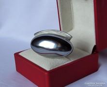 Elegáns antik ezüst bross hematittal /gyógyító ásvány