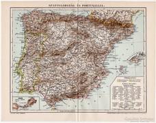 Spanyolország és Portugallia térkép 1898, eredeti, antik