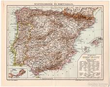 Spanyolország és Portugallia térkép 1898, eredeti, antik II.