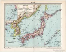 Japán térkép 1896, antik, eredeti, Pallas
