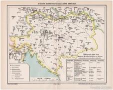 A közös hadsereg elhelyezése 1897-ben, antik térkép, eredeti