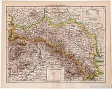 Galícia és Bukovina térkép 1895, antik, eredeti