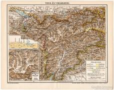 Tirol és Vorarlberg térkép 1898, antik, eredeti