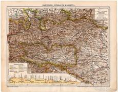 Salzburg, Stíria és Karintia térkép 1898, eredeti, antik