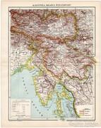 Karinthia, Krajna, tengerpart térkép 1896, antik, eredeti