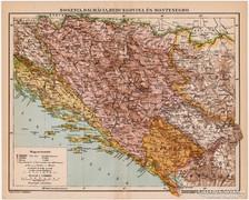 Bosznia, Dalmácia, Hercegovina és Montenegro térkép 1894