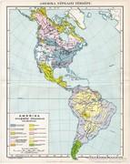 Amerika néprajzi térkép 1894, eredeti, antik