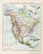 Észak - Amerika politikai térkép 1894, antik, eredeti