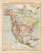 Észak - Amerika politikai térkép 1894, antik, eredeti II.