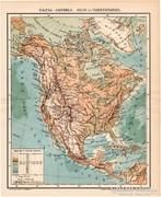 Észak - Amerika hegy- és vizrendszere térkép 1894, antik
