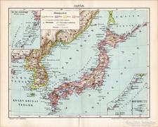 Japán térkép 1896, antik, eredeti