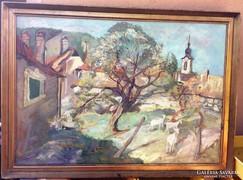 Wráber Sándor/1926-1992/ nagyméretű festménye.