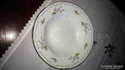 Lila barackvirág mintás tollazott Zsolnay leveses tányér