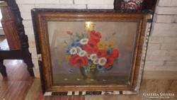 Virágcsendélet jelzett festmény