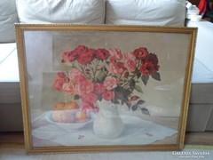 Hatalmas virágcsendélet nyomat arany keretben 94 x 74 cm