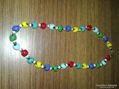 Régi színes üveg nyaklánc