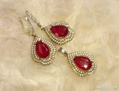 Meseszép rubin-, és topáz köves török fülbevaló