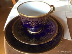 Régi fényporcelán,valódi kobalt teás