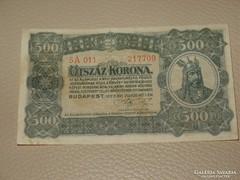 """500 KORONA 1923  """"T W""""  5 A 011 SORSZÁM"""