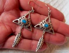 Navajo valódi ezüst fülbevaló - Egyedi!