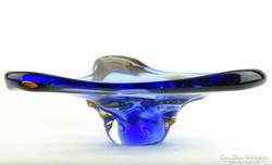 0K662 Fújtüveg BOHEMIA művészi üveg tál 30 cm