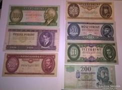 7 db-os ropogós Forint sor bankjegyek,ritka évjáratokkal !