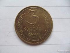 Szovjet Orosz 3 kopejka 1940