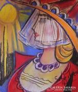 Scheiber jelzéssel Piros ruhás nő. Pasztell keretben. 34x48