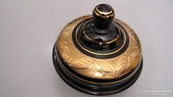 Zella Mehlis cukortartó, bonbonier, fekete üveg, aranymintás