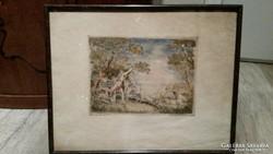 AKCIÓ! Prihoda István 1913 - ritka színes tús rajz