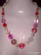 Rózsaszín gyöngyös alkalmi női ékszer, pink nyaklánc lánc