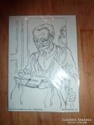 Rab-Kováts Éva: Nagyapó,illusztráció,egyedi tusrajz 1987