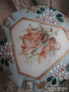 Antik üveg doboz angyalkás