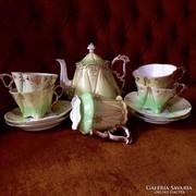 Antik szecessziós zöld teás készlet