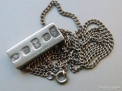 Ap 434 - 925 tömör ezüst lapka rúd medál és nyaklánc szett