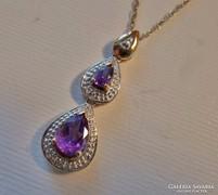 Gyönyörű antik ametiszt, gyémánt köves arany nyaklánc