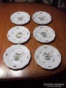 6 db 519-es Herendi Rothschild mintás süteményes tányér