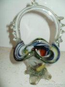 Színes üveg kosár retro 17 cm.