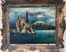 Fellelt állapotú olasz festmény: Pietro Scoppetta 1900 körül