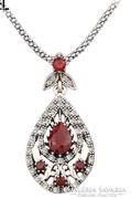 Török stílusú piros köves berakásos medál és nyaklánc (divat