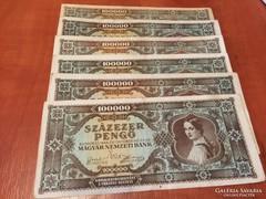 100000 pengő 1945, 5 db, vegyes minőség