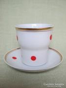 Hollóházi porcelán piros pöttyös kávés kapucsínós csésze