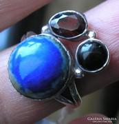925 ezüst gyűrű, 17,3/54,3 mm, lápisz+gránát+onix