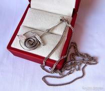 Kézműves ezüst medál rózsakvarccal, FBM ezüst lánccal