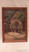 Vasady B. parasztudvar antik festmény